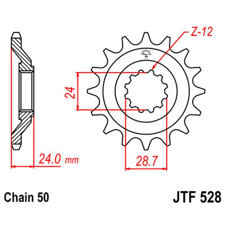 Звезда ведущая (передняя) JTF528-17, арт: 8375 - Звезды для цепи #530 (50)#