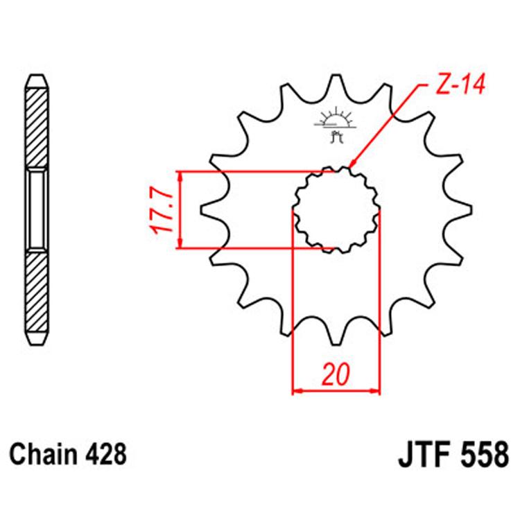 Звезда ведущая (передняя) JTF558-20, арт: 8377 - Звезды для цепи #428#
