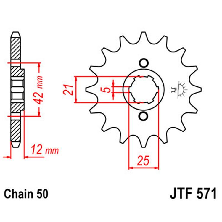Звезда ведущая (передняя) JTF571-16, арт: 8390 - Звезды для цепи #530 (50)#
