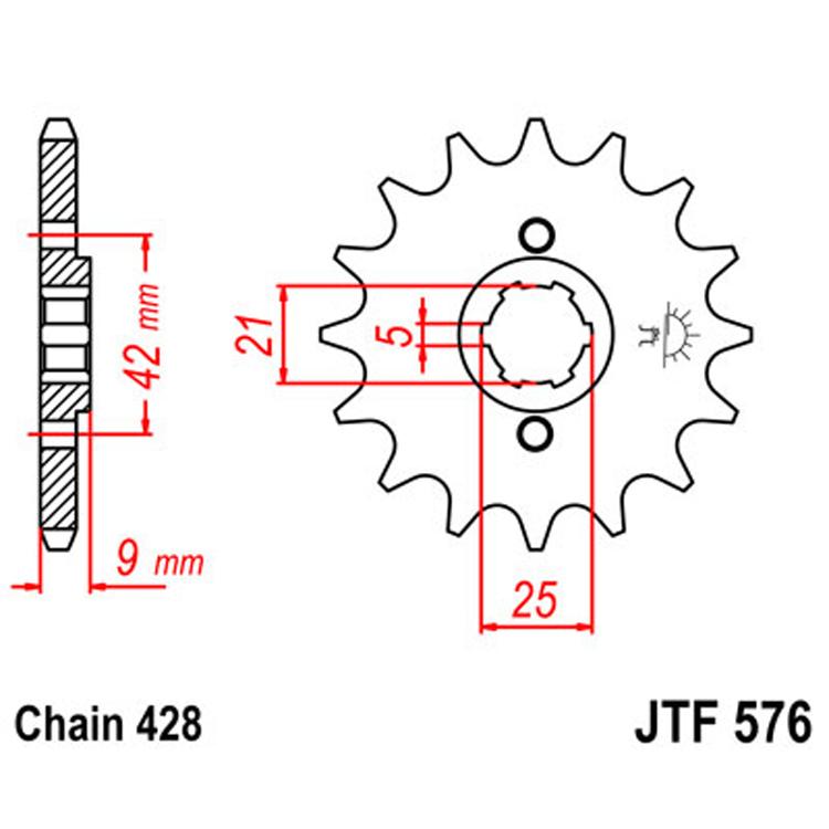 Звезда ведущая (передняя) JTF576-19, арт: 8392 - Звезды для цепи #428#
