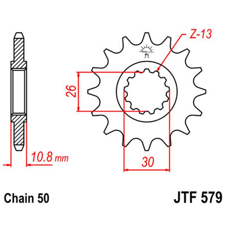 Звезда ведущая (передняя) JTF579-16, арт: 8396 - Звезды для цепи #530 (50)#