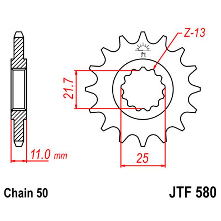 Звезда ведущая (передняя) JTF580-17, арт: 8398 - Звезды для цепи #530 (50)#