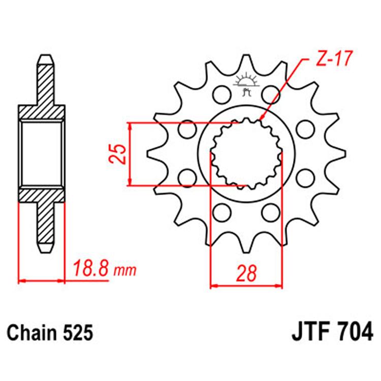 Звезда ведущая (передняя) JTF704-17, арт: 8402 - Звезды для цепи #525#