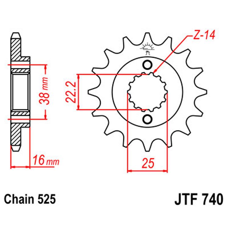 Звезда ведущая (передняя) JTF740-14, арт: 8411 - Звезды для цепи #525#