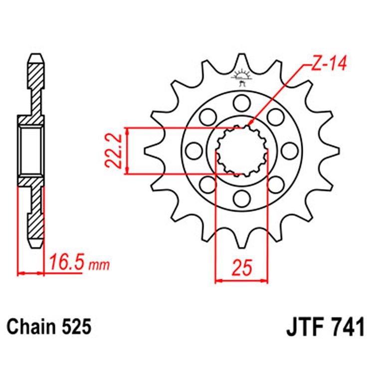 Звезда ведущая (передняя) JTF741-14, арт: 8412 - Звезды для цепи #525#