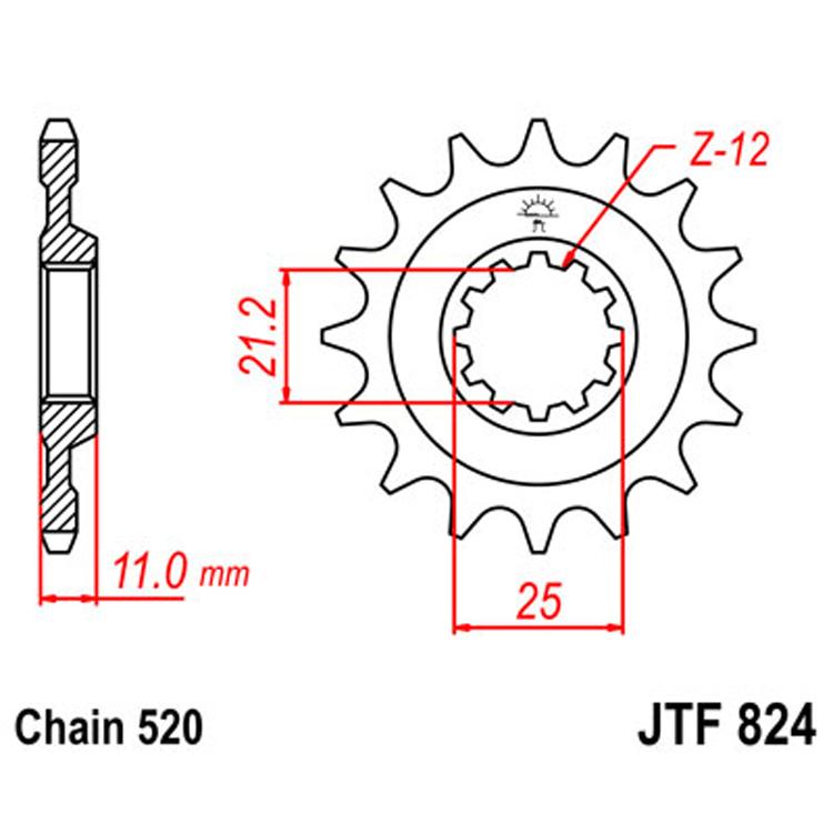 Звезда ведущая (передняя) JTF824-16, арт: 8424 - Звезды для цепи #520#
