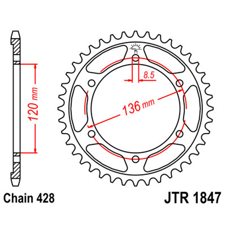 Звезда ведомая(задняя) JTR1847-47, арт: 9062 - Звезды для цепи #428#