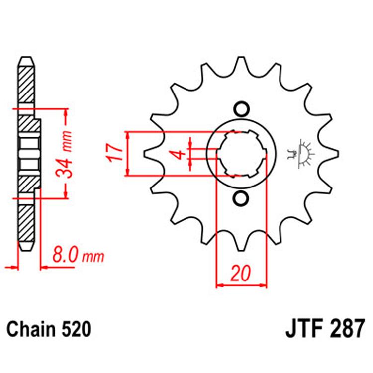Звезда ведущая (передняя) JTF287-14, арт: 9071 - Звезды для цепи #520#