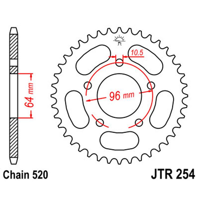 Звезда ведомая(задняя) JTR254-37, арт: 9074 - Звезды для цепи #520#