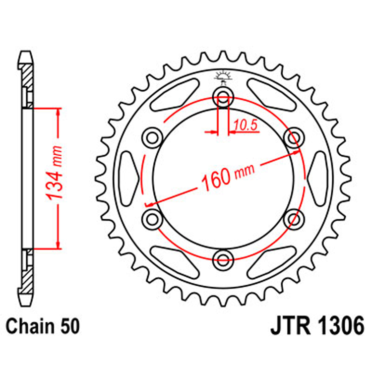 Звезда ведомая(задняя) JTR1306-43, арт: 9471 - Звезды для цепи #530 (50)#