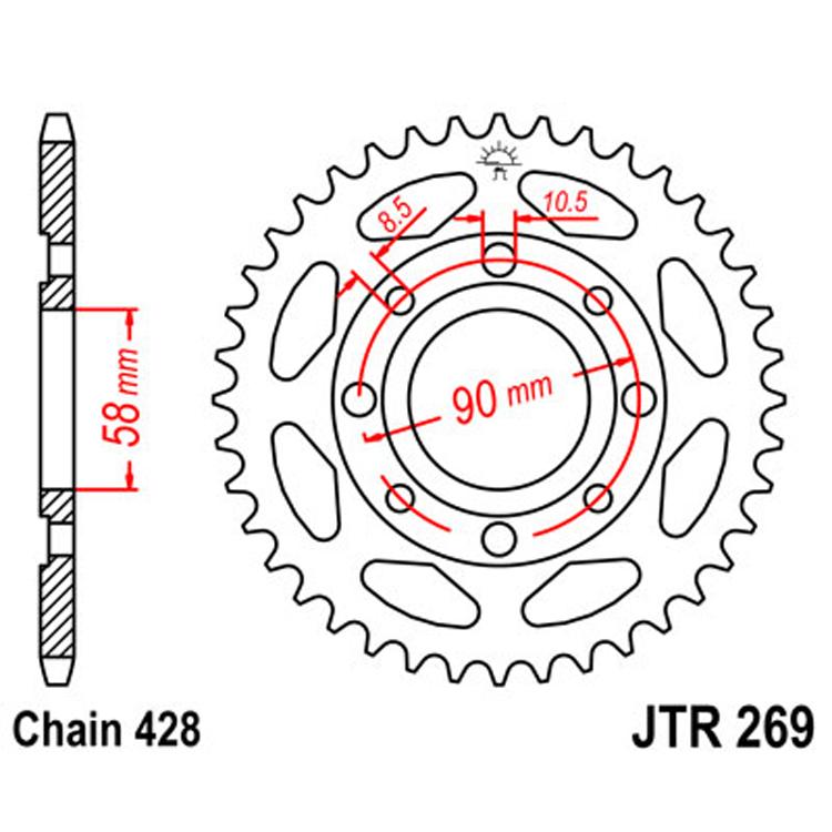 Звезда ведомая(задняя) JTR269-56, арт: 9500 - Звезды для цепи #428#