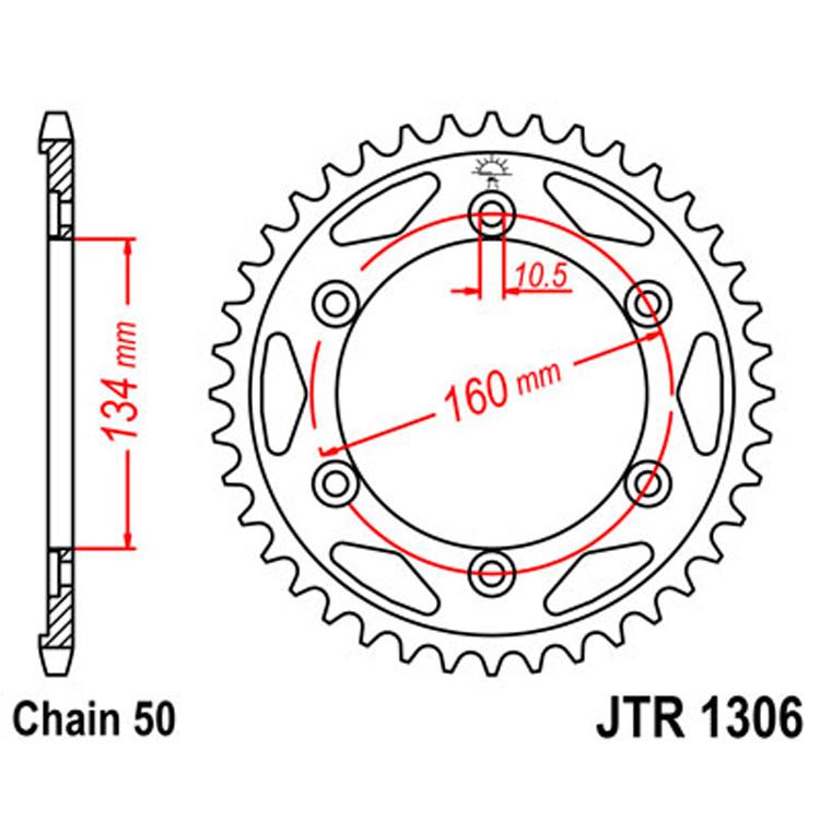 Звезда ведомая(задняя) JTR1306-41, арт: 9761 - Звезды для цепи #530 (50)#