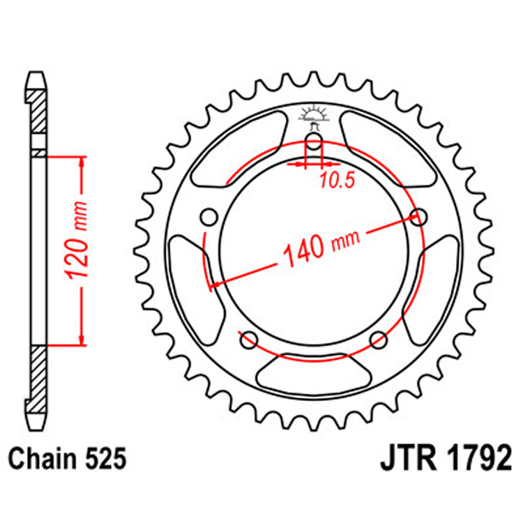 Звезда ведомая(задняя) JTR1792-44, арт: 9802 - Звезды для цепи #525#